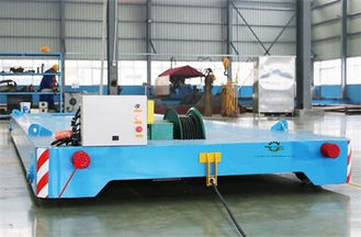 China Heavy Duty Rail Flat Electric Transfer Cart 12 Ton Capacity 4mx1.8m Table supplier